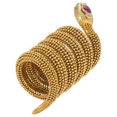 "Bulgari Ceylon Ruby ""Serpenti"" Bracelet Watch"