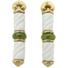 Bulgari Chandra Collection 18 Karat Yellow Gold Ceramic Peridot Drop Earrings