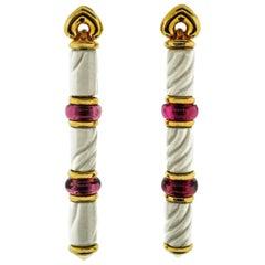 Bulgari Chandra Collection Yellow Gold Ceramic Rubellite Drop Earrings
