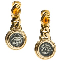 Bulgari Citrine and 18 Karat Gold Coin Earrings