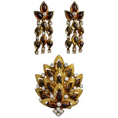 Bulgari Citrine and Diamond Earrings and Brooch