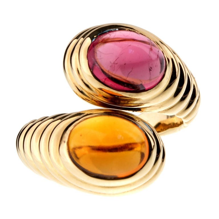 Bulgari Citrine Tourmaline Gold Bypass Ring
