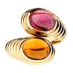 Bulgari Citrine Tourmaline Gold Bypass Ring