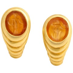 Bulgari Clip-On Earrings with Ancient Intaglios