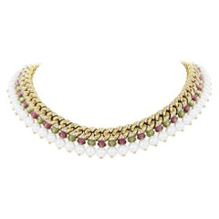 Bulgari Colar Halskette, Turmalin, Peridot, Diamanten und Perlen