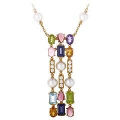 Bulgari Color Collection Three-Row Gemstone Gold Long Pendant Necklace