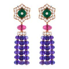 Bulgari Color Treasures Collection Diamond and Multi-Gemstone Earrings in 18KYG