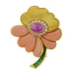 Bulgari Coral Amethyst Diamond Emerald Gold Flower Brooch Pin