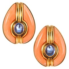 Bulgari Coral and Sapphire Earrings