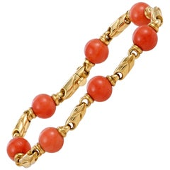 Bulgari Coral Beaded Yellow Gold Bracelet