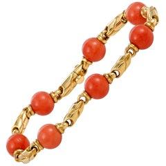 Bulgari Coral Beaded Yellow Gold Bracelet