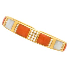 Bulgari Coral, Diamond and Mother of Pearl Bangle