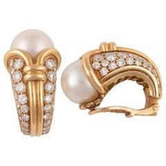 Bulgari Cultured Pearl and Diamond Earrings