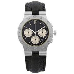 Bulgari Diagono Chronograph 18k White Gold Black Dial Quartz Mens Watch CHW35G