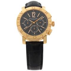 Bulgari Diagono Limited Edition 18K Rose Gold Black Dial Men Watch BB P 42 GL CH