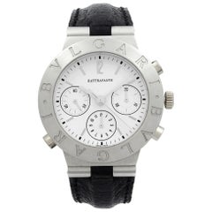 Bulgari Diagono Rattrapante Platinum Split Seconds White Dial Mens Watch CH40 PL