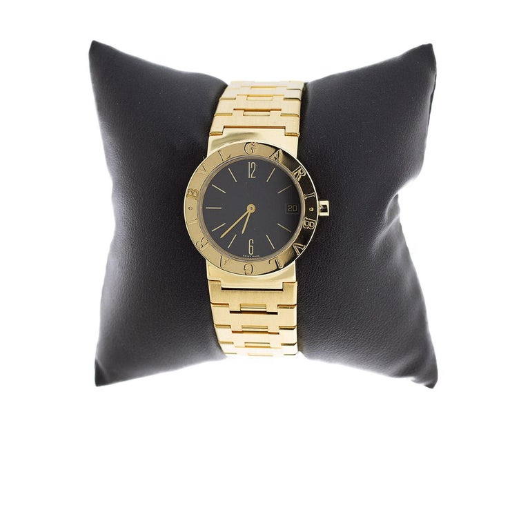 Product Details: Estimated Retail:  $16,000.00 Condition: Pre Owned Brand: Bulgari Collection: Diagono Case Material: Yellow Gold Gender: Women's MPN: BB33GGD Movement: Quartz Battery Face Color: Black Band Type: Bracelet Case Size: 33 Style: