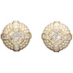 Bulgari Diamond 18 Karat Gold Dome Earrings