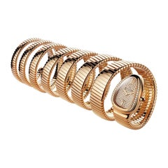 Bulgari Diamond 18 Karat Rose Gold 7-Coil Serpenti Watch