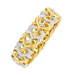 Bulgari Diamond 18 Karat Two-Tone Yellow White Gold Heart Cuff Bracelet