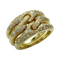 Bulgari Diamond 3-Row Flexible Yellow Gold Ring