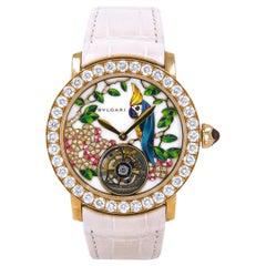 Bulgari Ladies Diamond Amethyst Pink Gold Tourbillon Design Wristwatch