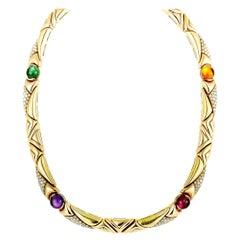 Bulgari Diamond, Amethyst, Tourmaline, and Citrine Yellow Gold Choker Necklace