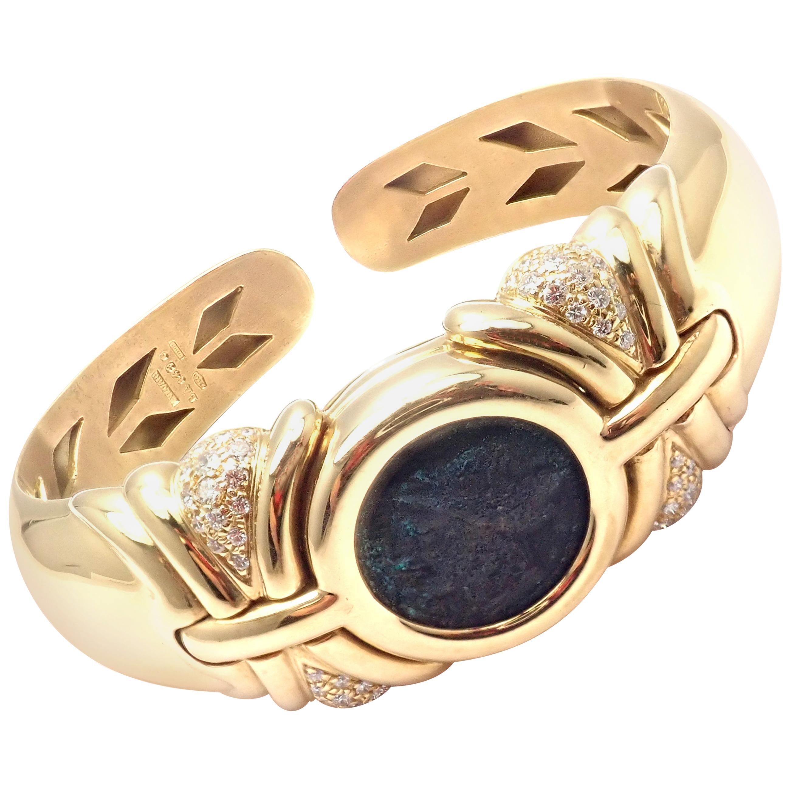 Bulgari Diamond Ancient Coin Yellow Gold Bangle Bracelet