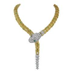 Bulgari Diamond and Emerald Eyes Serpenti Necklace