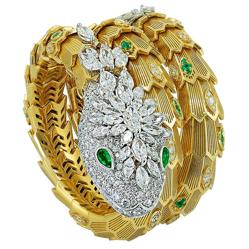 Bulgari Diamond and Emerald Serpenti Gold Bracelet