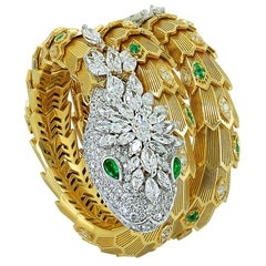 Bulgari Diamond and Emerald Serpenti Gold Bracelet