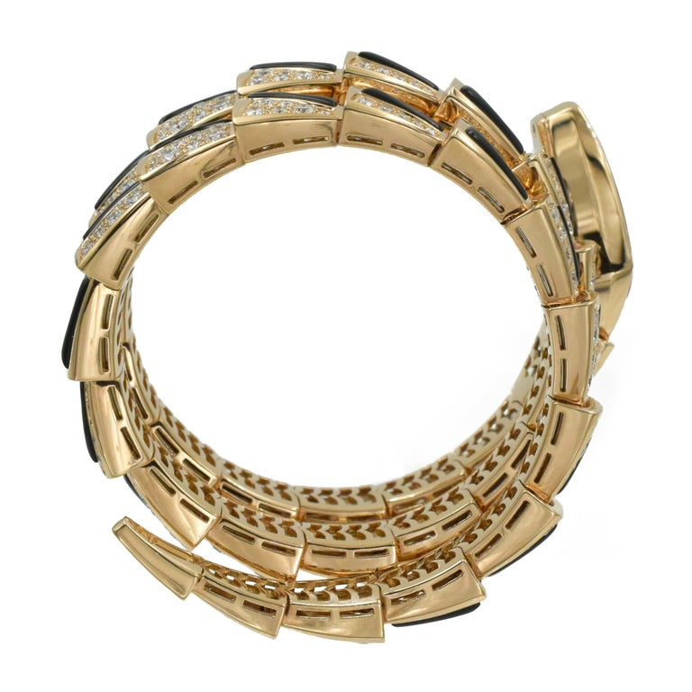 Bulgari Diamond and Onyx 'Serpenti' Wristwatch in 18k Rose Gold For Sale 4