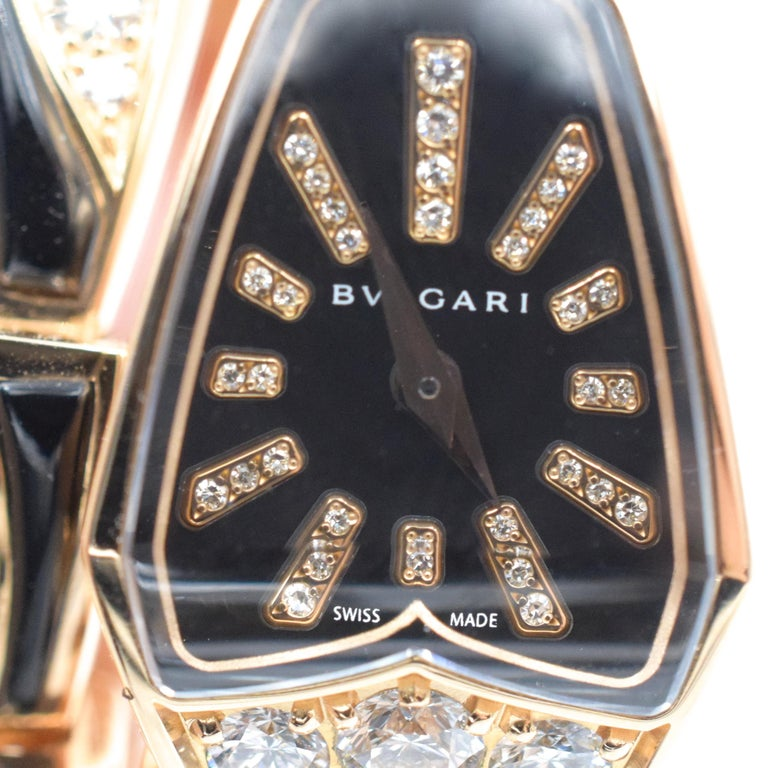 Bulgari Diamond and Onyx 'Serpenti' Wristwatch in 18k Rose Gold For Sale 7