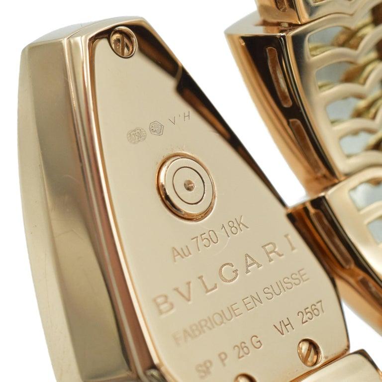 Artist Bulgari Diamond and Onyx 'Serpenti' Wristwatch in 18k Rose Gold For Sale
