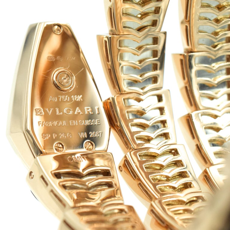 Women's Bulgari Diamond and Onyx 'Serpenti' Wristwatch in 18k Rose Gold For Sale
