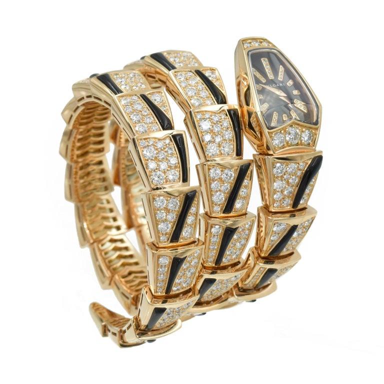 Bulgari Diamond and Onyx 'Serpenti' Wristwatch in 18k Rose Gold For Sale 1