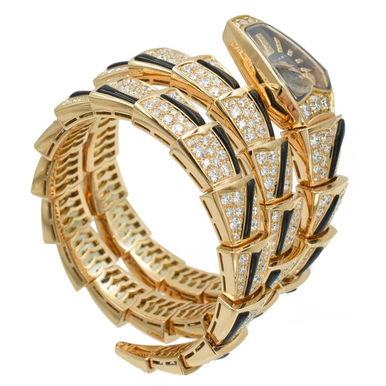 Bulgari Diamond and Onyx 'Serpenti' Wristwatch in 18k Rose Gold For Sale 2