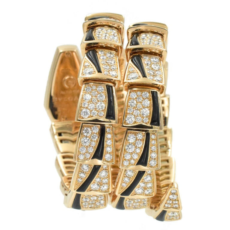 Bulgari Diamond and Onyx 'Serpenti' Wristwatch in 18k Rose Gold For Sale 3