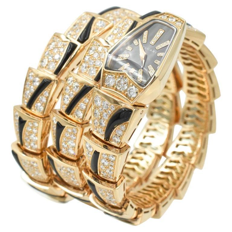 Bulgari Diamond and Onyx 'Serpenti' Wristwatch in 18k Rose Gold For Sale