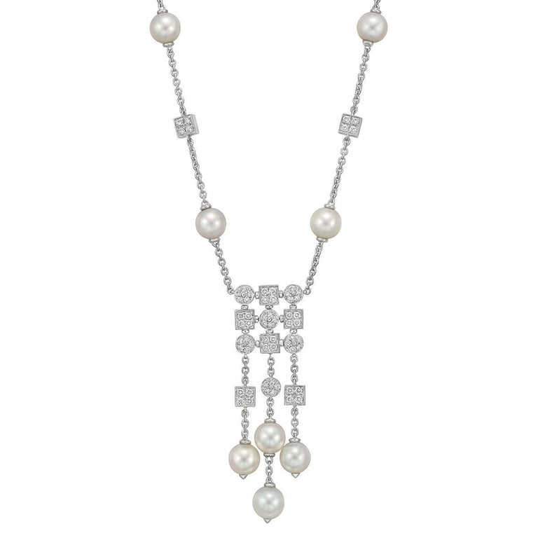Bulgari Pearl Necklace: Bulgari Enigma Arrow Diamond Gold Necklace For Sale At 1stdibs