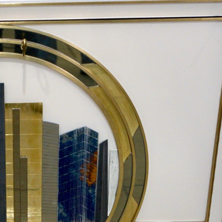Italian Contemporary Bespoke Ivory Cabinets with New York Blue & Gold Sculpture For Sale 5