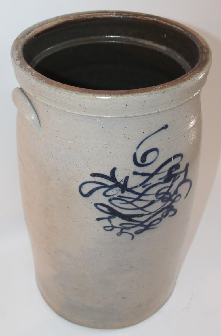 Country 19th Century  Butter Churn Crock With Blue Decoration For Sale