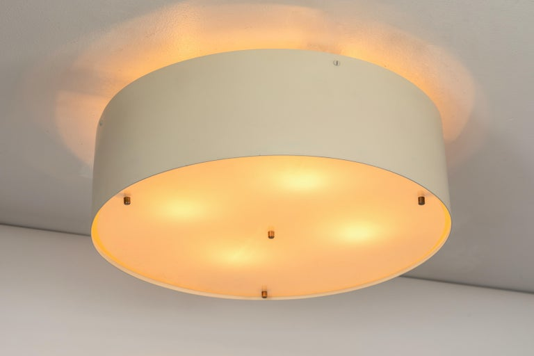 French Large 1950s Jacques Biny Wall or Ceiling Light for Luminalite For Sale