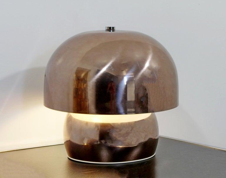 Mid-Century Modern Rare Large Laurel Metallic Copper Mushroom Table Lamp, 1960s In Good Condition For Sale In Keego Harbor, MI