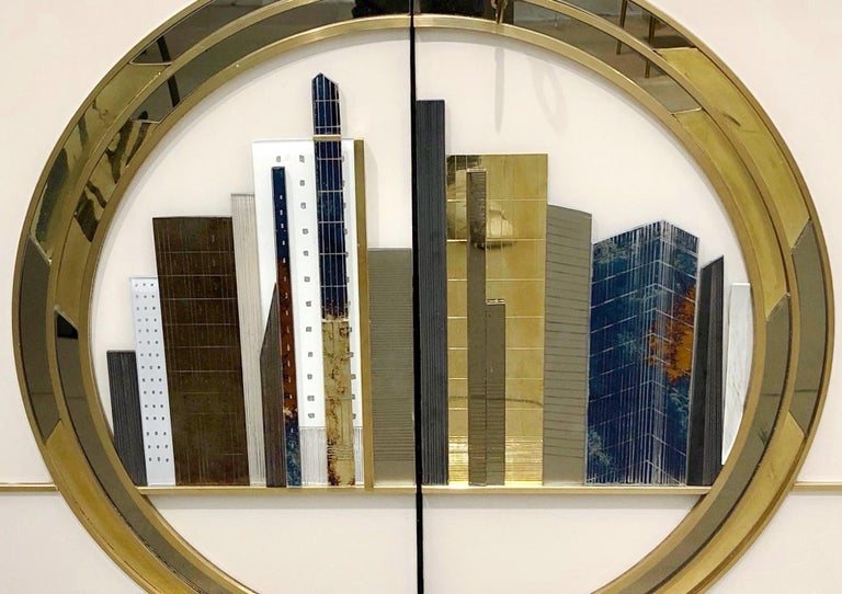 Hand-Crafted Italian Contemporary Bespoke Ivory Cabinets with New York Blue & Gold Sculpture For Sale