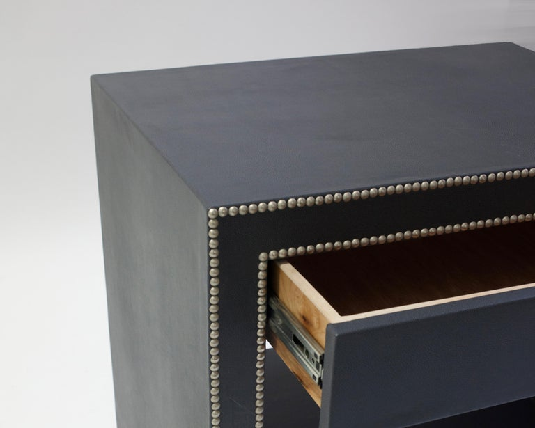 Hand-Carved Leather Covered Bedside Table with Open Shelf Trimmed with Nailheads For Sale