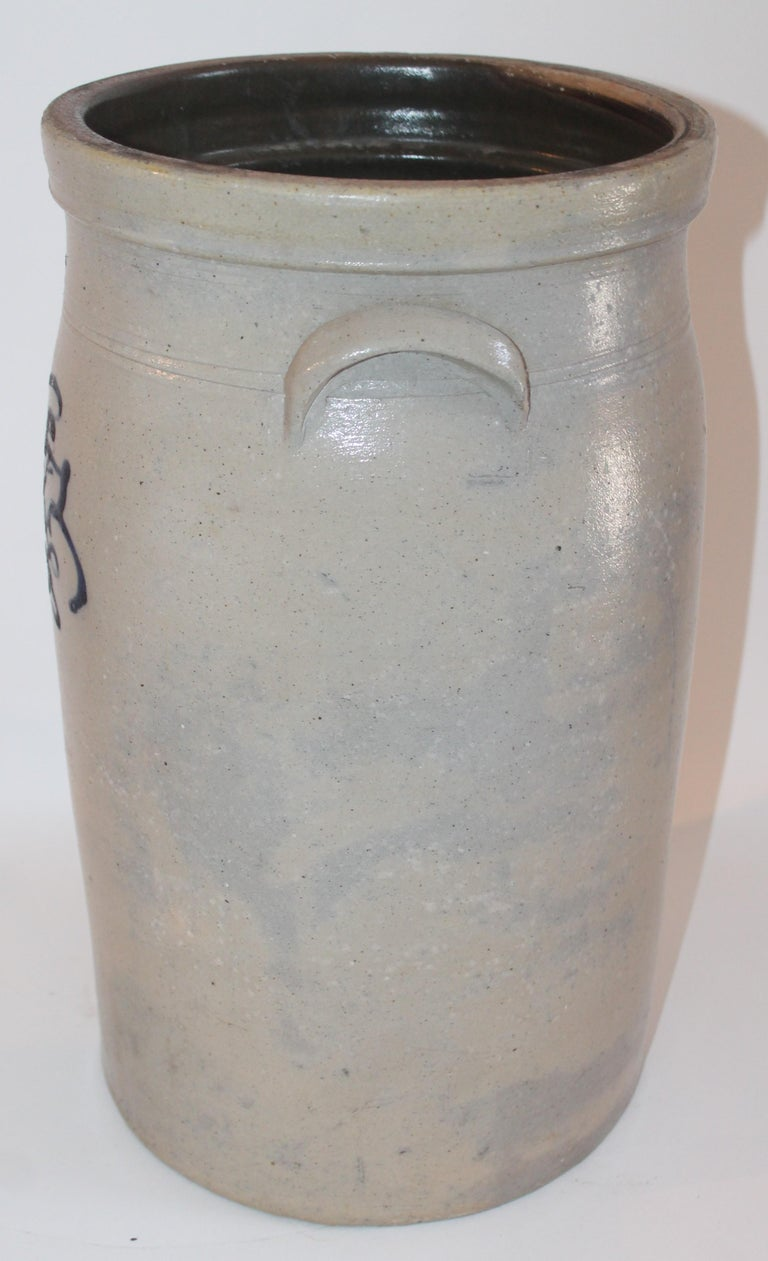 Hand-Crafted 19th Century  Butter Churn Crock With Blue Decoration For Sale