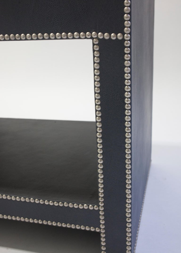 Leather Covered Bedside Table with Open Shelf Trimmed with Nailheads In New Condition For Sale In Brooklyn, NY