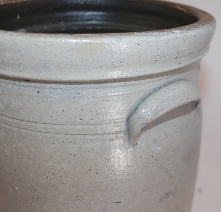 Pottery 19th Century  Butter Churn Crock With Blue Decoration For Sale