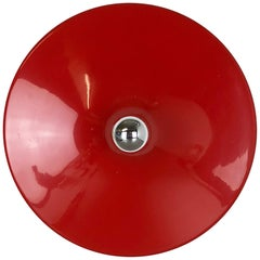 Red Italian Extra Large Metal Disc Wall Light by Stilnovo Lights Italy 1970s